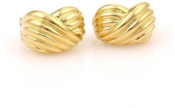 Tiffany & Co. 18K Yellow Gold Ribbed Swirl Semi Hoop Earrings