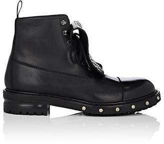 Alexander McQueen Men's Leather Studded Combat Boots