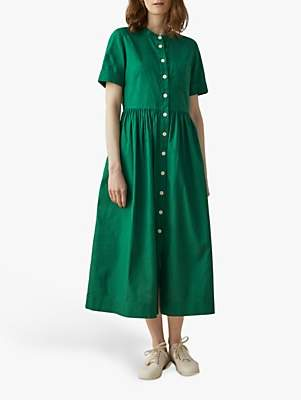 Toast Cotton Oxford Shirt Dress, Racing Green