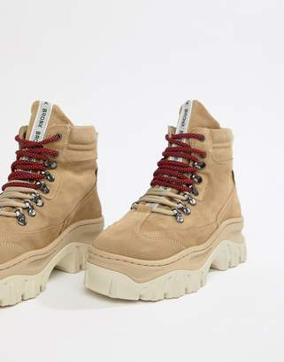 Bronx taupe suede chunky hiker boots