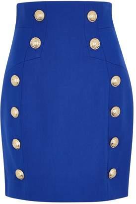 Balmain Blue Button-embellished Wool Mini Skirt