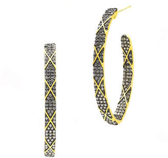 Freida Rothman Signature Pointed CZ Stones Stripe Hoop Earrings