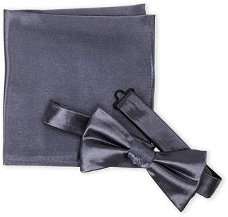 Geoffrey Beene Satin Bow Tie & Pocket Square Set