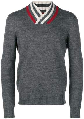 Bottega Veneta striped v-neck jumper