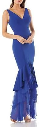 Carmen Marc Valvo Crepe Mermaid Dress