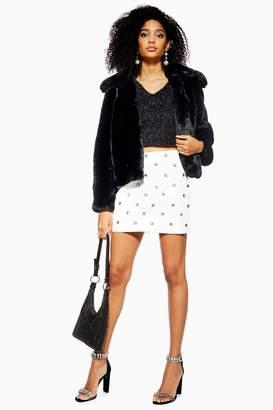 Topshop PETITE Crystal Mini PU Skirt