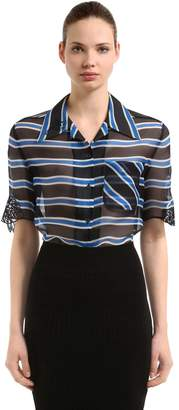 Fendi Stripe Printed Silk Organza Shirt