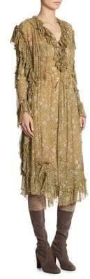 Zimmermann Silk Rife Ruffle Floral Midi Dress