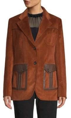 Prada Leather Patch Corduroy Jacket