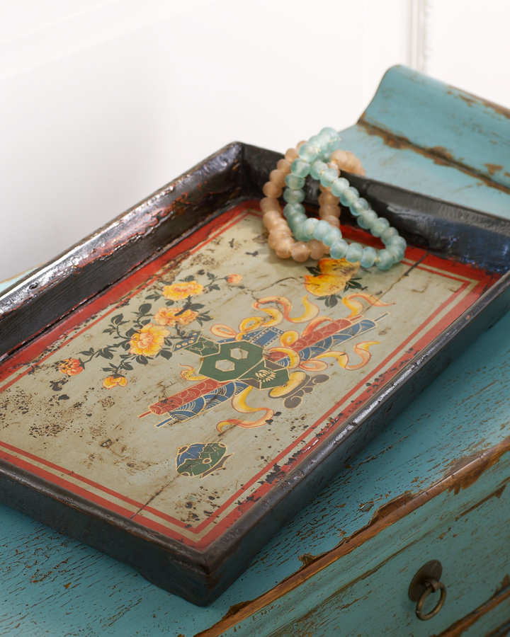 Horchow Antique Floral Tray