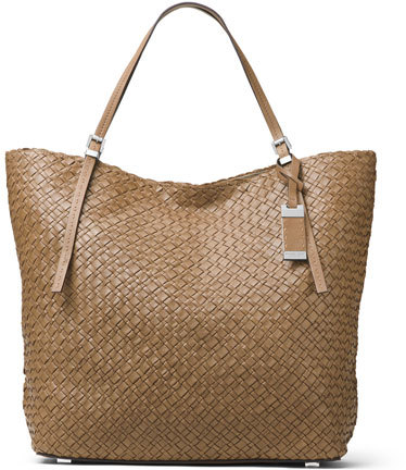 MICHAEL Michael Kors Michael Kors Hutton Large Woven Leather Tote Bag, Luggage