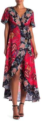 Flying Tomato Patterned Hi-Lo Short Sleeve Maxi Dress