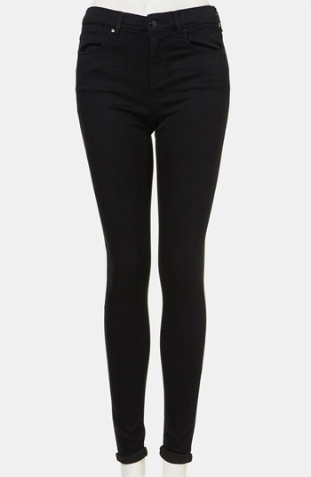 Topshop Moto 'Leigh' Skinny Stretch Jeans Womens Black Size 6 6