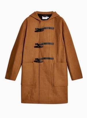 Topman Mens Brown Camel Wool Blend Oversized Duffle Coat