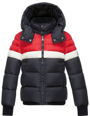 Moncler Aymond Hooded Colorblock Puffer Jacket, Navy, Size 8-14 $700 thestylecure.com
