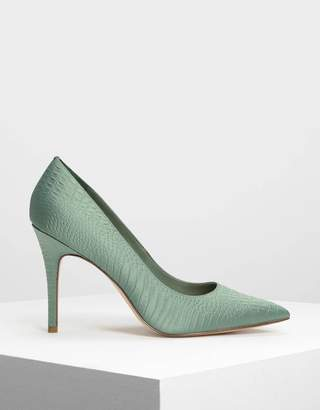 Charles & Keith Embossed Pointed Pumps