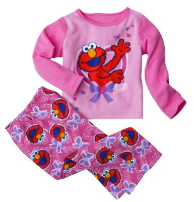 Sesame Street Elmo Infant Toddler Girls Fleece Pajama Set