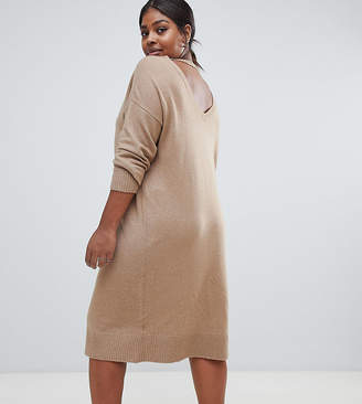 Asos Micha Lounge Curve deep back midi jumper dress