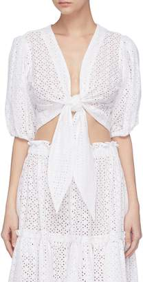 Lisa Marie Fernandez Puff sleeve tie front broderie anglaise cropped blouse