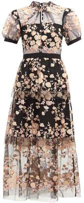 Self-Portrait Self Portrait Floral Sequin Embellished Tulle Midi Dress - Womens - Black Multi