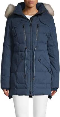 Pajar Crystal Fox Fur-Trimmed Down Puffer Jacket