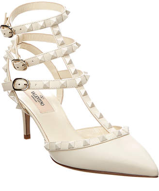 Valentino Rockstud Leather Ankle Strap Pump