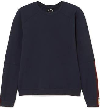 The Upside Mia Cutout Striped Stretch-ponte Sweatshirt - Navy