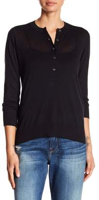 Frame Ribbed Yoke Henley Sweater