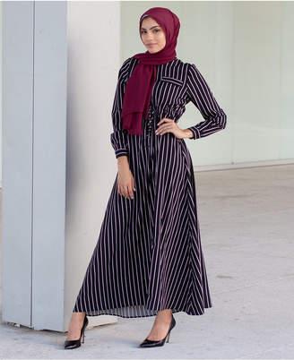 Verona Collection Striped Tie-Waist Maxi Dress
