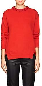 Valentino WOMEN'S LEATHER-COLLAR WOOL-CASHMERE SWEATER-RED SIZE L