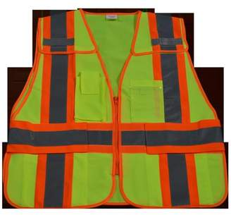 Petra Roc LV2-PSV-PLUS Public Safety Vest 207-2006 Lime Solid with Orange Binding 5-Point Breakaway with Non-Cloth Hook & Eye Breakaway Zipper & Expandable Side Closures 5 Pockets, 2X & 5X