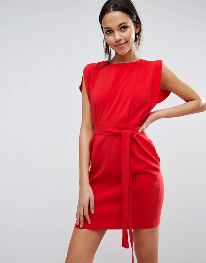 AsosASOS Belted Mini Dress with Split Cap Sleeve and Pencil Skirt