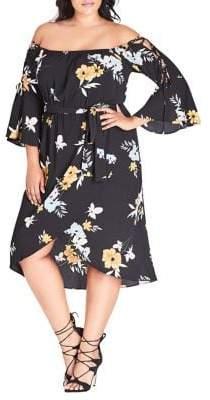 City Chic Plus Zinnia Floral Dress