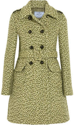 Prada Belted Double-breasted Tweed Coat - Green