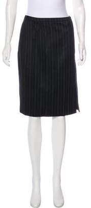 Armani Collezioni Wool Knee-Length Skirt Black Wool Knee-Length Skirt