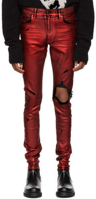 Amiri Red Foil Broken Jeans