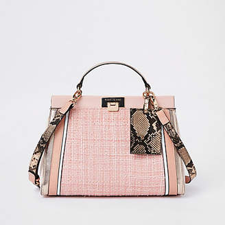 River Island Pink boucle panel lock front tote bag