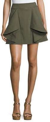 Tanya Taylor Tomi Flared Cotton Twill Mini Skirt