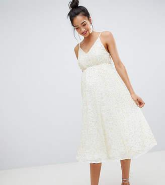 1bf765c18c Asos DESIGN Maternity delicate sequin midi plunge dress with full skirt