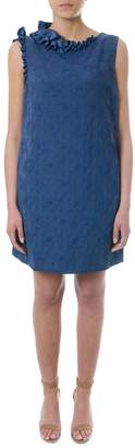 Lanvin Blue Dress With Embossed Floral Print
