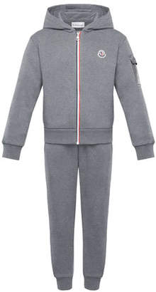 Moncler Tricolor-Zip Hoodie w/ Matching Sweatpants, Size 8-14