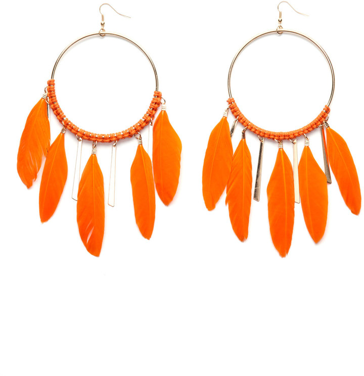 Charlotte Russe Orange Feather Dangle Hoops