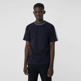 Burberry Tape Detail Cotton T-shirt , Size: XXXL, Blue