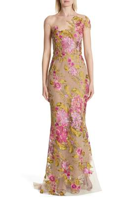 Marchesa Illusion Multicolor Column Gown