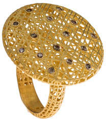 Yossi Harari Lace 18k Round Ring w/ Diamonds, Size 6