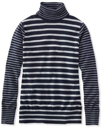 L.L. Bean L.L.Bean Cotton/Cashmere Sweater, Turtleneck Stripe