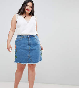 Influence Plus Floral Embroidered Denim Skirt