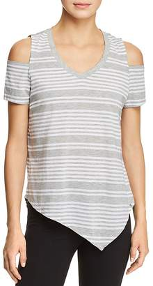 Andrew Marc Performance Striped Cold-Shoulder Tee
