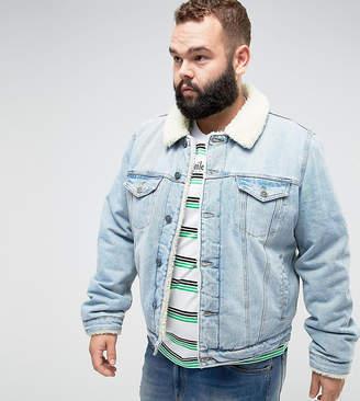 Asos DESIGN PLUS Fully Fleece Lined Denim Jacket In Mid Wash