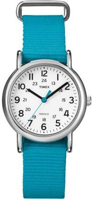 Timex Women's Weekender Chrome Case & Blue Slip-Through Strap Watch T2N836